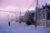 A winter street scene in Verkhoyansk the coldest town in the Northern Hemisphere. Yakutia, Siberia, Russia.