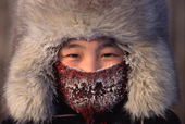 Lena Potapova frosted up at minus 52 degrees Celsius in the winter at Verkhoyansk. Yakutia, Siberia, Russia.