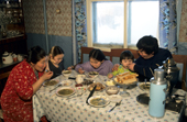 The Potapova family having lunch at their home in Verkhoyansk, Yakutia, Siberia, Russia.