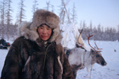 Evenk reindeer herder at his winter camp near Kusur. Northern Yakutia, Siberia, Russia. 2001